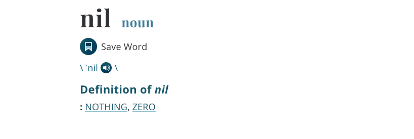 Nil definition, for nil valuation feature